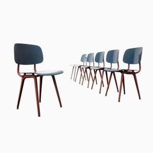 Mid-Century Revolt Stühle in Lachs & Blau von Friso Kramer für Ahrend de Cirkel, 6er Set