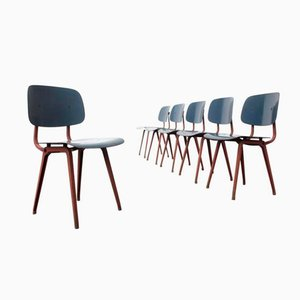 Mid-Century Salmon & Blue Revolt Chairs by Friso Kramer for Ahrend de Cirkel, Set of 6