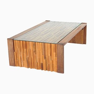 Brazilian Brutalist Jacaranda Coffee Table by Percival Lafer
