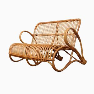 Rattan Two-Seater Bench for Rohé Noordwolde, 1950s