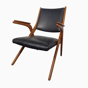 Boomerang Chair in Black Leather, 1960s
