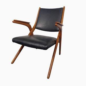 Boomerang Stuhl mit Schwarzem Leder, 1960er