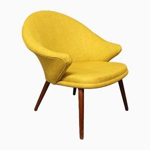 Yellow Fabric & Teak Armchair by Nanna Ditzel, 1960s