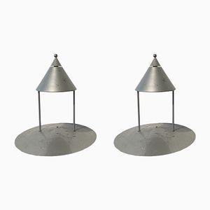 Grey Metal Table Lamps, 1980s, Set of 2