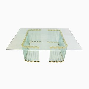 Gold, Metal, & Glass Coffee Table, 1970s