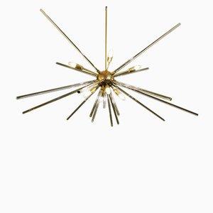 Sputnik Deckenlampe aus Messing & Glas, 1960er