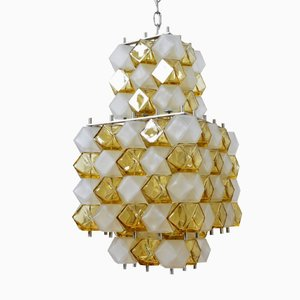 Vintage Italian Op Art Amber and Matte White Glass Chandelier from Interlux