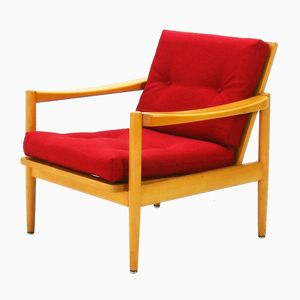 Vintage Buchenholz Polsterstuhl mit Rotem Bezug