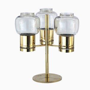 Brass & Glass Candelabrum by Hans Agne Jakobsson, 1960s