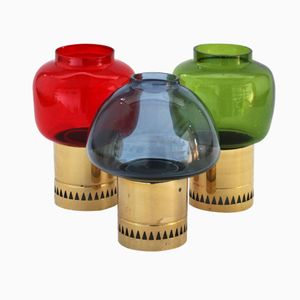 Brass & Colored Glass Candleholders by Hans-Agne Jakobsson, 1960s, Set of 3