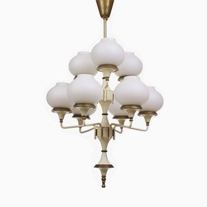Vintage Italian Frosted Glass Chandelier, 1950s