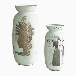 Vases Grazia par Stig Lindberg pour Gustavsberg, Suède, 1940s, Set de 2