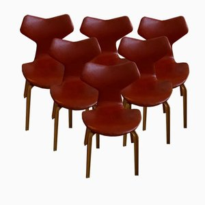 Vintage Grand Prix Leather Chairs by Arne Jacobsen for Fritz Hansen, Set of 6