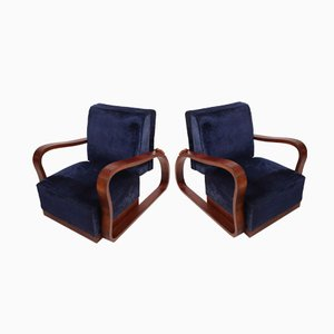 Dark Blue Velvet Lounge Chairs, 1930s, Set of 2