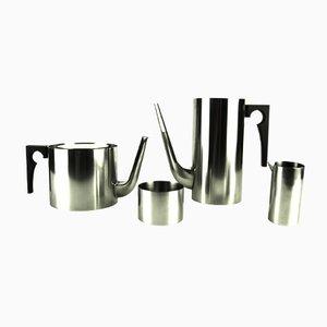 Vintage Cylinda-Line Coffee and Tea Set by Arne Jacobsen for Stelton