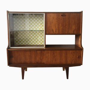 Mid-Century Dutch Teak Highboard with Vintage Wallpaper