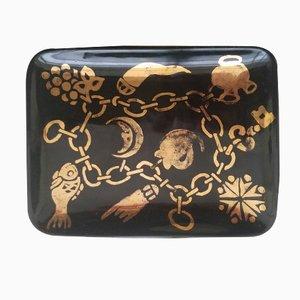 Small Black & Gold Charm Bracelet Dish by Piero Fornasetti, 1960