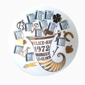 Year 1972 Porcelain Calendar Plate by Piero Fornasetti