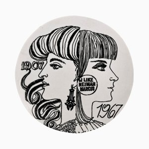 Neiman Marcus 60th Anniversary Porcelain Plate with Box by Piero Fornasetti, 1967