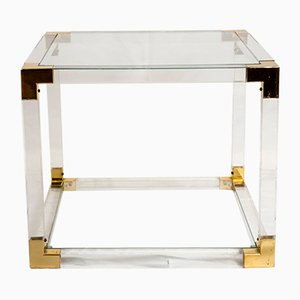 French Lucite and Brass Side Table, 1970s