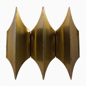 Skulpturale Modernistische Gothic III Messing Wandleuchte von Lyfa, 1960er