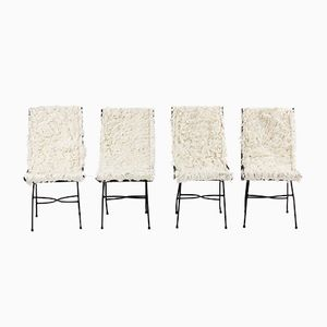 French Fur Dining Chairs, 1930s, Set of 4