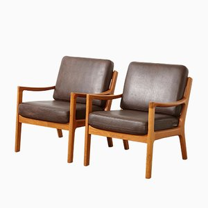 Vintage Teak Leather Easy Chairs by Ole Wanscher for Cado, Set of 2