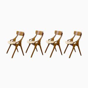 Wood & Skai Dining Chairs by Arne Hovmand Olsen for Mogens Kold, 1950s, Set of 4