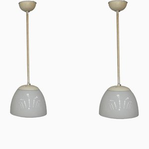 Opaline Glass Pendant Lamps from Gispen, 1930s, Set of 2