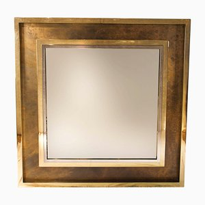 Mid-Century French Brass and Chrome Mirror, 1970s