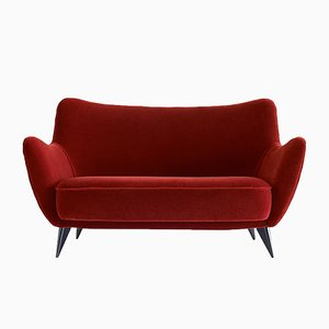Canapé Perla Rouge en Mohair par Giulia Veronesi pour ISA Bergamo, 1950s