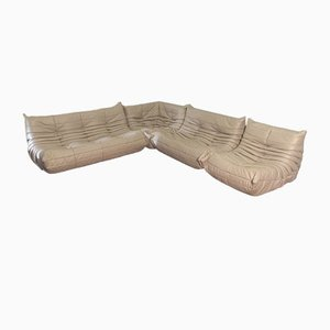 Beige Leather Togo Sofa Set by Michel Ducaroy for Ligne Roset, 1974