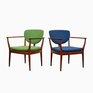 Danish Green & Blue Teak Lounge Chairs, Set of 2