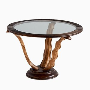 Side Table with Hand Carved Wood Leaf Legs by Paolo Buffa, 1940s