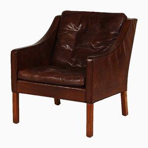 Kognakfarbener Dänischer 2207 Stuhl aus Leder und Eiche von Børge Mogensen für Fredericia, 1970er