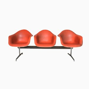 Mid-Century Fiberglass & Leatherette Bench by Charles & Ray Eames for Herman Miller