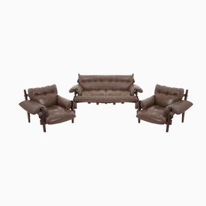 Moleca Brazilian Jacaranda & Leather Lounge Set by Sergio Rodrigues for Oca, 1963