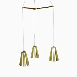 Vintage Brass, Teak and Glass Three-Armed Ceiling Light from Lightolier