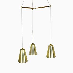 Vintage Messing, Teak & Glas Deckenlampe mit Drei Leuchten von Lightolier