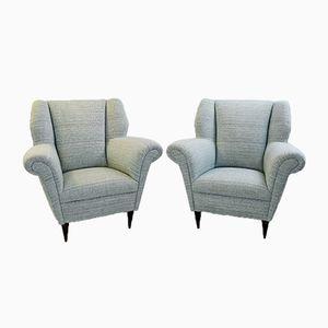Italienische Sessel in Grau & Beige, 1950er, 2er Set