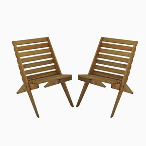 Scissor Folding Chairs, 1950s, Set of 2