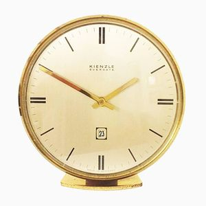 Mid-Century Brass Everdate Table Clock from Kienzle