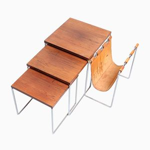 Rosewood Veneered Nesting Tables with a Leather Magazine Holder from Brabantia