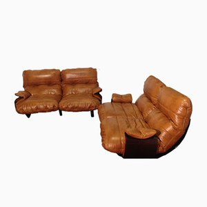 Cognac Leather Marsala Lounge Chairs by Michel Ducaroy for Ligne Roset, 1970s, Set of 2