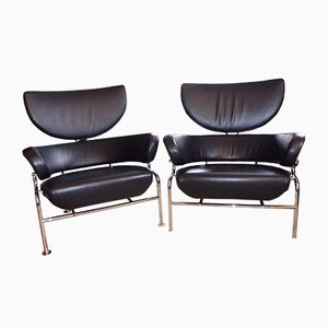 Vintage Tre Pezzi Black Leather Armchairs by Franco Albini for Cassina, Set of 2