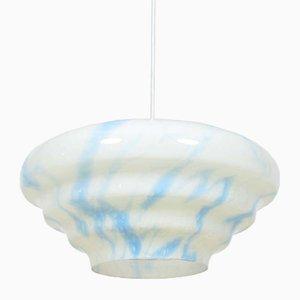 Large White & Blue Czech Pendant Light, 1950s