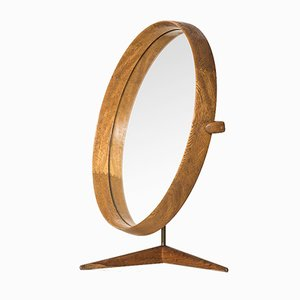 Oak Table Mirror by Uno & Östen Kristiansson for Luxus, 1960s