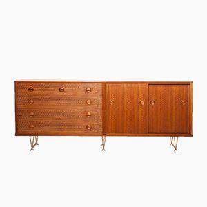 Nussholz & Messing Sideboard von William Watting für Fristho, 1950er