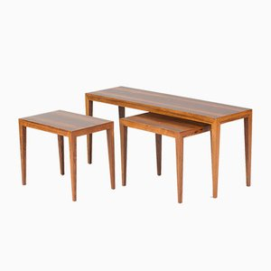 Mid-Century Rosewood Nesting Tables by Severin Hansen for Haslev, 1950s
