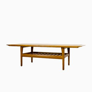 Danish Teak Coffee Table with Magazine Shelf, 1960s